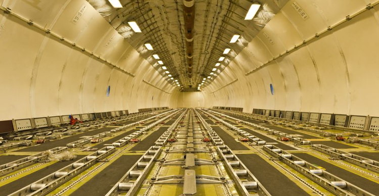 The interior of a cargo plane