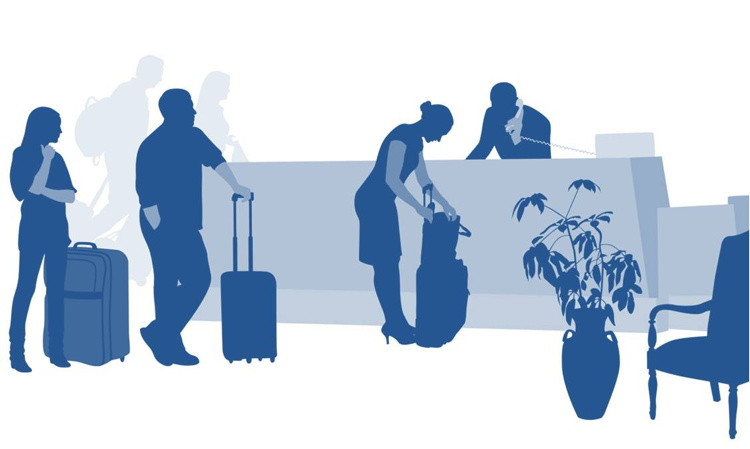 Illustration of people checking in at a hotel