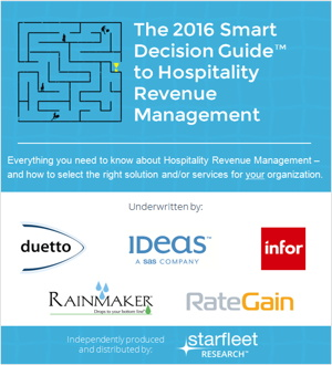Cover from The 2016 Smart Decision Guide To Hospitality Revenue Management