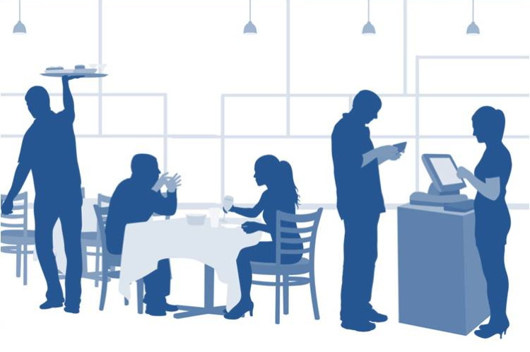 Illustration of people in a restaurant
