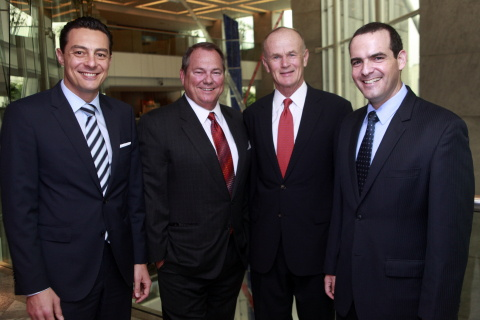 From left to right: Eduardo Rodriguez Suarez, managing director, development - Brazil & the Southern Cone, Hilton Worldwide; Paul J. Sistare, founder and CEO of Atlantica Hotels; Ted Middleton, senior vice president, development - Latin America, Hilton Worldwide; and Ricardo Bluvol, vice president development, Atlantica Hotels.