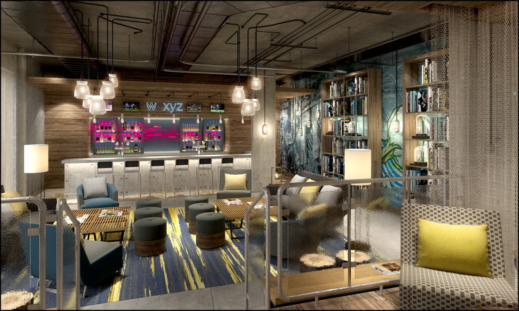 Rendering of w xyz bar at Aloft Brighton