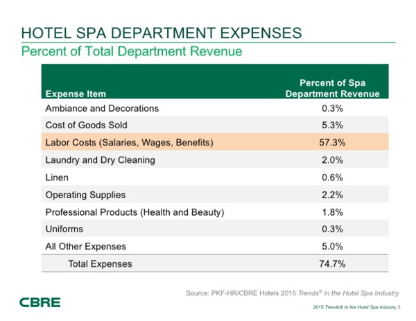Table - Hotel spa departmental expenses