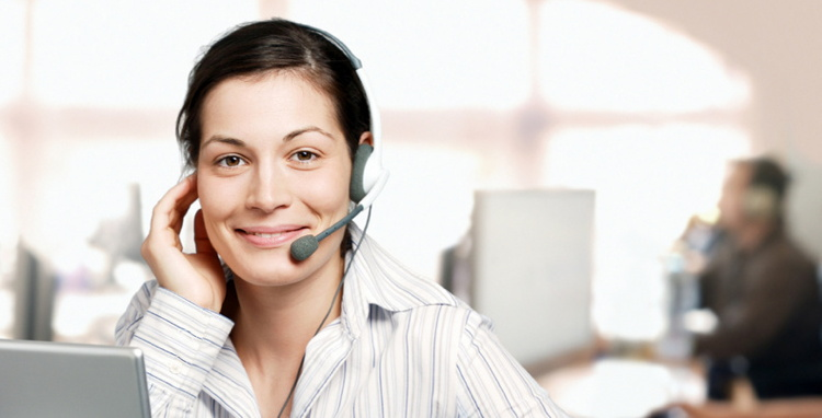 Female customer service representative on the telephone.