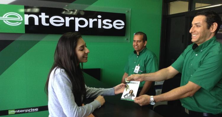 An Enterprise Rent-A-Car Rental Counter