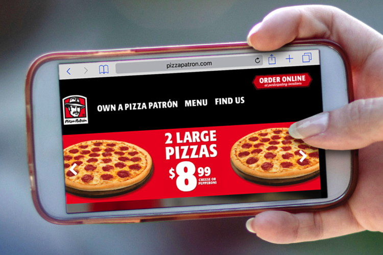 Screenshot Pizza Patron Website on Mobile Phone