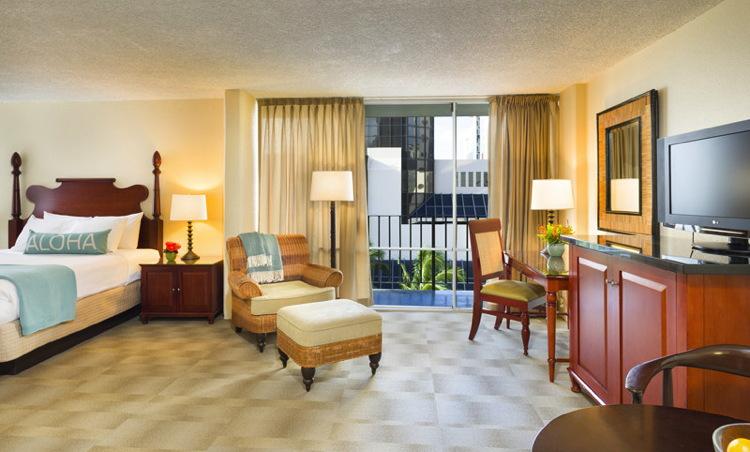 Guest room at the Aqua Ohia Waikiki Hotel