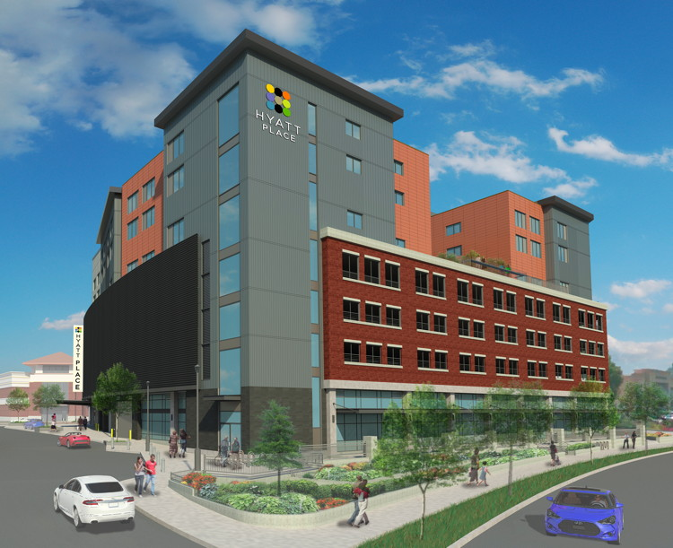 Rendering of the The Hyatt Place at Oakway Center in Eugene, OR