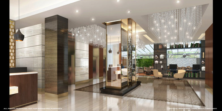 Rendering of the Holiday Inn Brooklyn Downtown Hotel Lobby