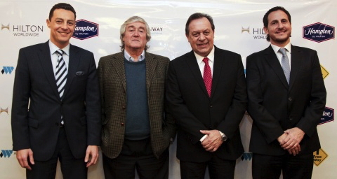 Eduardo Rodriguez Suarez, Dado Carey, Gustavo Santos and Lisandro Cristia attend the Hampton by Hilton Bariloche signing ceremony.