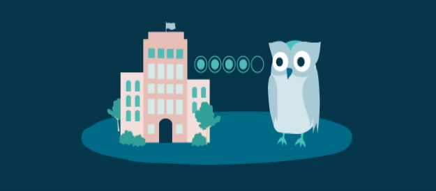 Illustration of an owl and a hotel