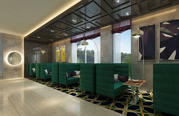 Rendering of the restaurant at the Radisson Blu Hotel Dammam Al Faisaliyah