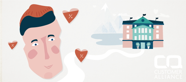 Illustration of a face next to a hotel
