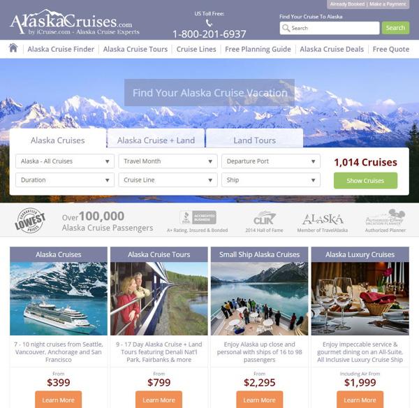 Screenshots of AlaskaCruises.com