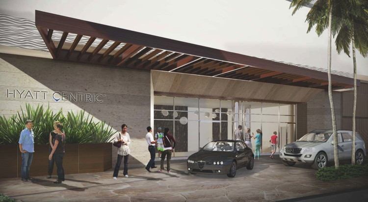 Rendering of the Hyatt Centric Waikīkī Beach Entrance
