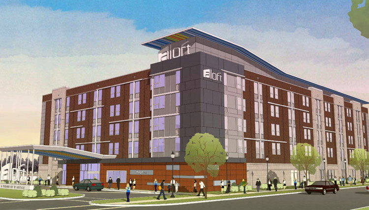 Rendering of the Aloft Syracuse Inner Harbor Hotel