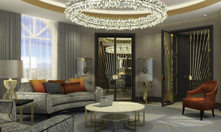 Rendering of the Presidential Suite Living Room, The Alexander, a Luxury Collection Hotel, Yerevan