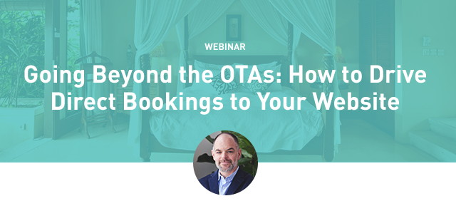 Promotional image for Going Beyond the OTAs to Drive Direct Bookings Webinar