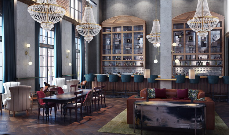 Rendering of the The Ramble Hotel lobby