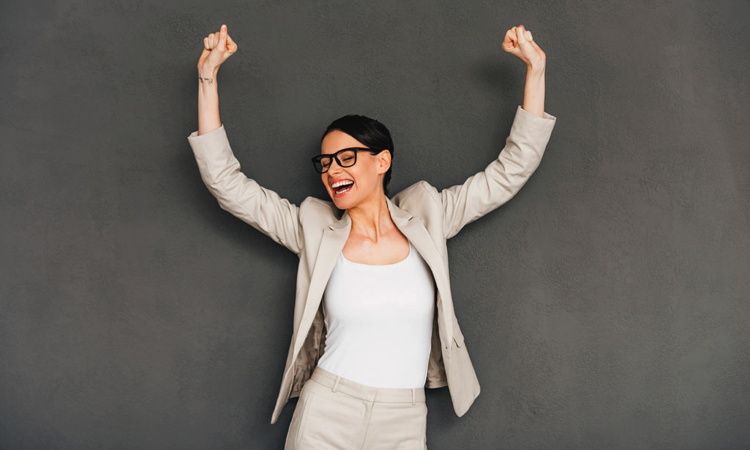 A woman celebrating