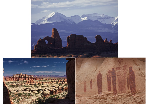From top, and left to right: Arches, Canyon Country & Petroglyphs in the Canyonlands Horseshoe Canyon District