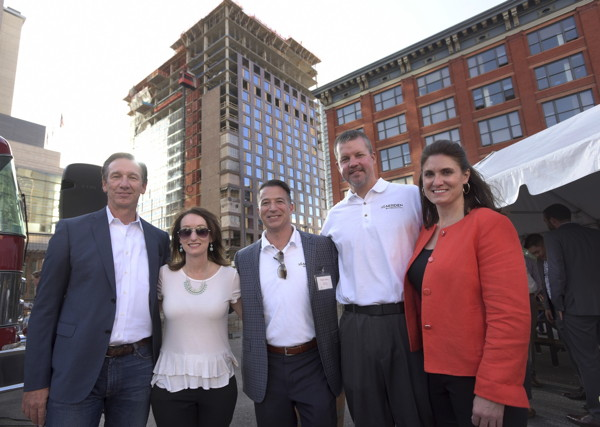Pictured from left to right are: Steve Poe, CEO of Poe Companies; Christy DeSiato, Director of Sales and Marketing; Pete Sams, White Lodging Regional Vice President; Paul Eckert, Dual General Manager and Rachel Benedick, Vice President of Sales and Services.