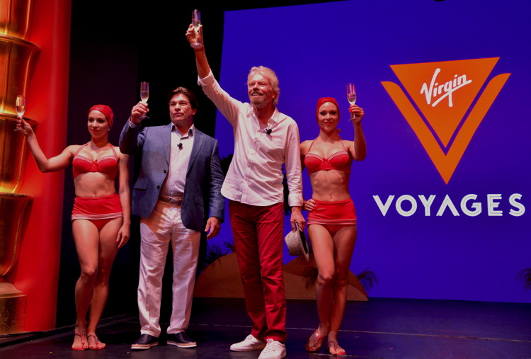 Sir Richard Branson and President & CEO Tom McAlpin unveil Virgin Voyages as the new identity for the company's cruise line.