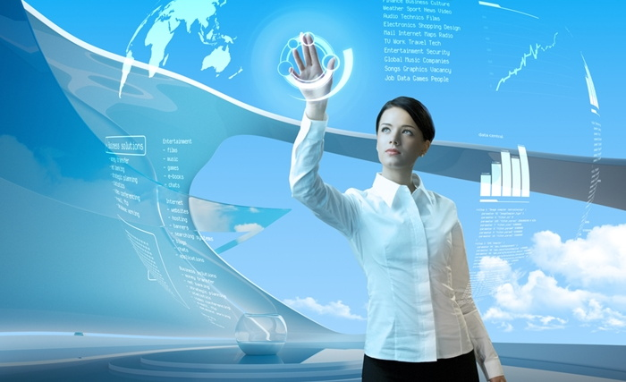 Concept - a woman using a futuristic touchscreen