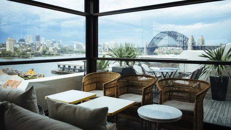 View of Sydney Harbour Bridge from Hotel Palisade