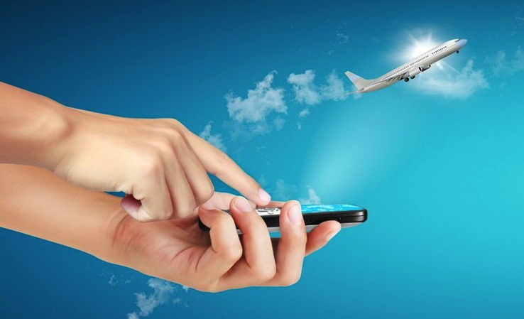 Touch screen mobile phone, in hand and aircraft
