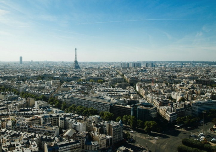 Wide-angle shot of Paris