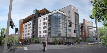 Rendering of the AC Hotel by Marriott Smallman