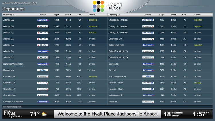 Flyte Systems Airport Display at the Hyatt Place Jacksonville Airport