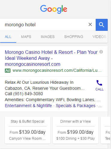 Google search box with hotel ads