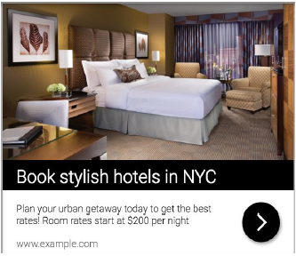 Hotel Ad with image of hotel room