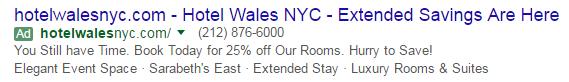 Sample Google hotel ad