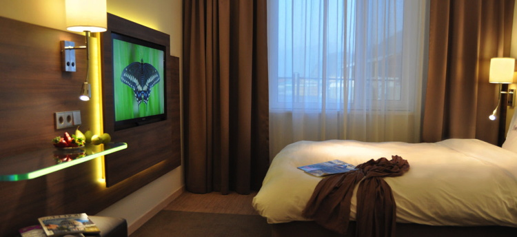 Hotel room at the Moxy Aberdeen Airport Hotel