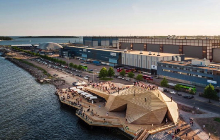 Helsinki's hip, high-design new public sauna complex, Löyly, shows the new social directions. Image Source: Avanto Architects by kuvio.com