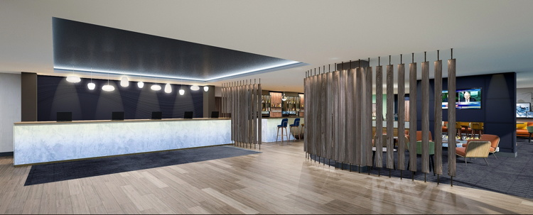Rendering of the Hyatt Place London Heathrow Airport Hotel lobby