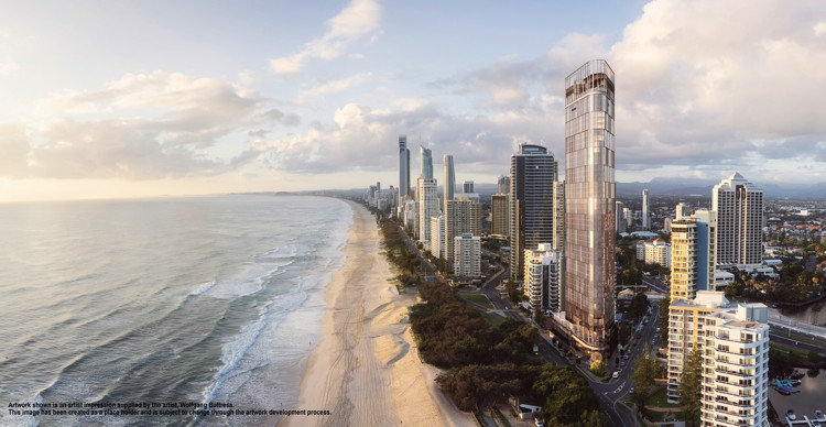 Rendering of the the new $Aud440 Million Luxury Hotel Announced for Surfers Paradise, Queensland, Australia