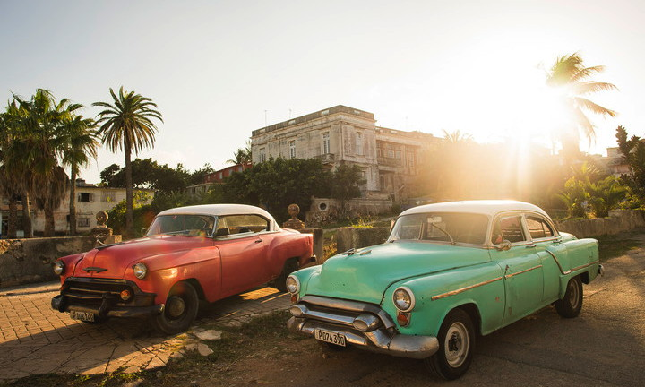 Two antique cars in Cuba