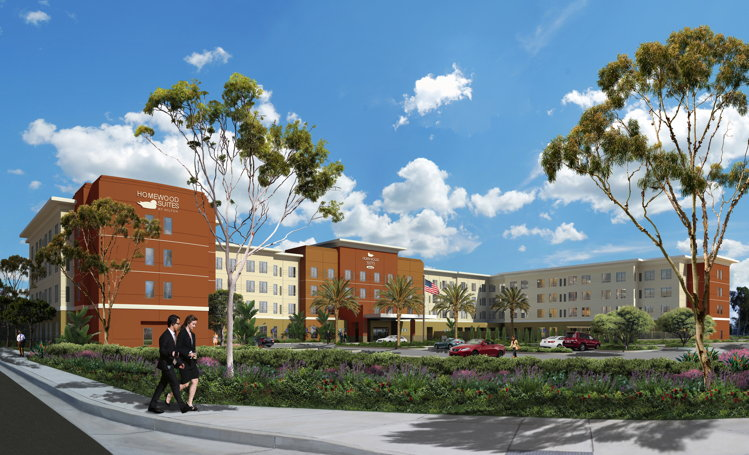 Rendering of the Homewood Suites by Hilton Irvine John Wayne Airport Hotel