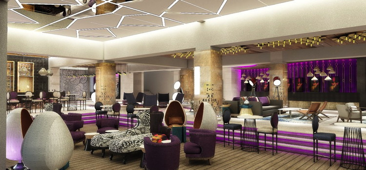 Rendering of the Hard Rock Hotel Papagayo Costa Rica's lobby entrance