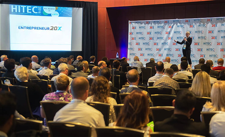 Companies pitching at HFTP's second E20X event at HITEC New Orleans last June.