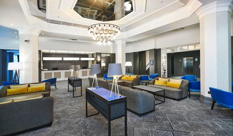 A DoubleTree by Hilton Hotel lobby