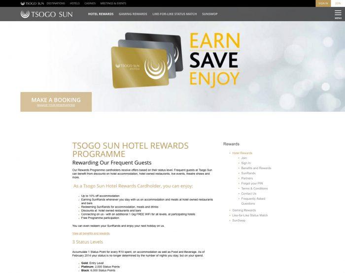Screenshot Tsogo Sun web site