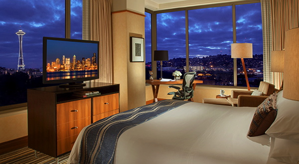 Guestroom at the Pan Pacific Hotel in Seattle, WA