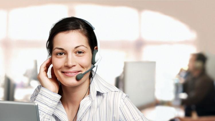 Female customer service representative on the telephone.