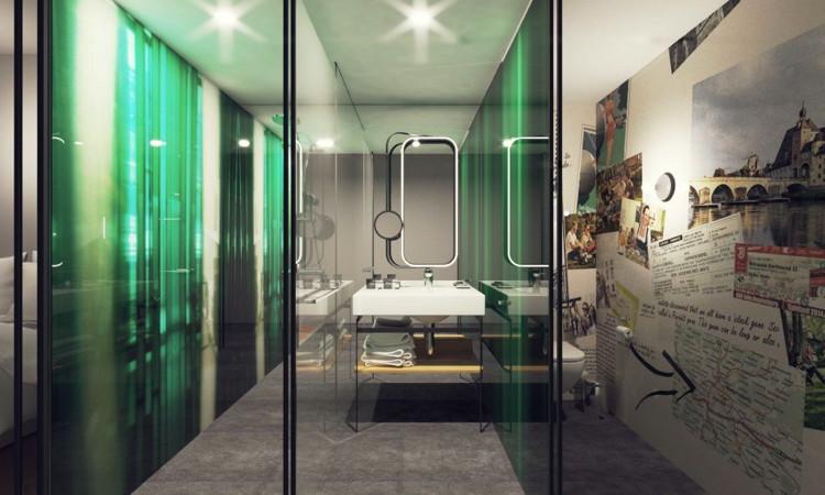 Rendering of the of a niu hotel bathroom