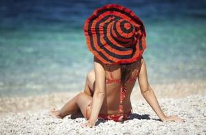 A woman on a beach in Jamaica